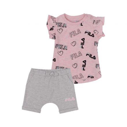 חליפה קצרה FILA לתינוקות לוגו לבבות