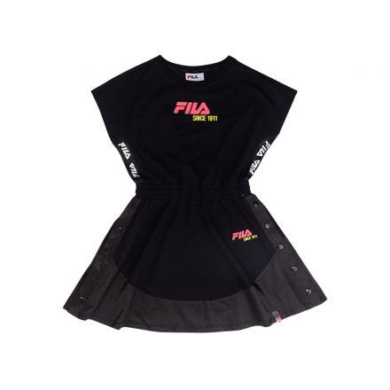 שמלת איי-ליין FILA לילדות לוגו ורוד