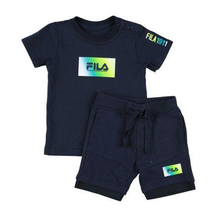 חליפת FILA לתינוקות כחול לוגו באמצע