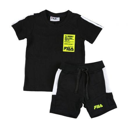 חליפת FILA לילדים שחור לוגו ריבוע בצד