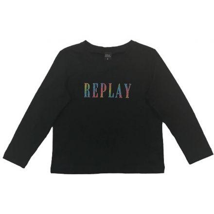 חולצת REPLAY לילדות לוגו צבעוני