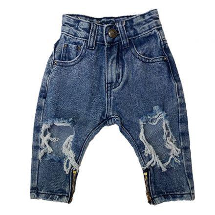 מכנס ORO לילדים ג'ינס קרע בברך זיפר