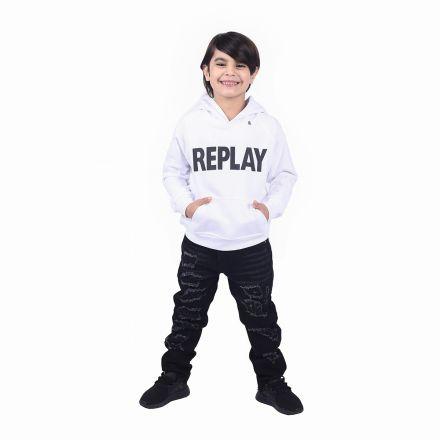 קפוצ'ון REPLAY לילדים לבן לוגו שחור