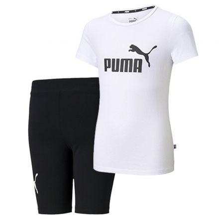 חליפת PUMA לילדות ESS לוגו טי G לבן