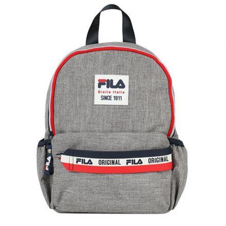 תיק בית ספר FILA יוניסקס ילדים אפור לוגו אדום כחול