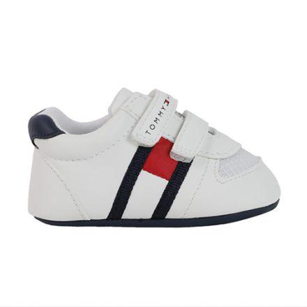 נעלי Tommy Hilfiger דגם וולקרו לבן וכחול  תינוקות