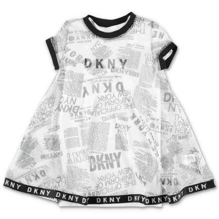 שמלה DKNY לוגו מפוזר לילדות