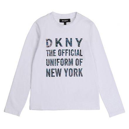 חולצת DKNY לילדות לוגו באמצע