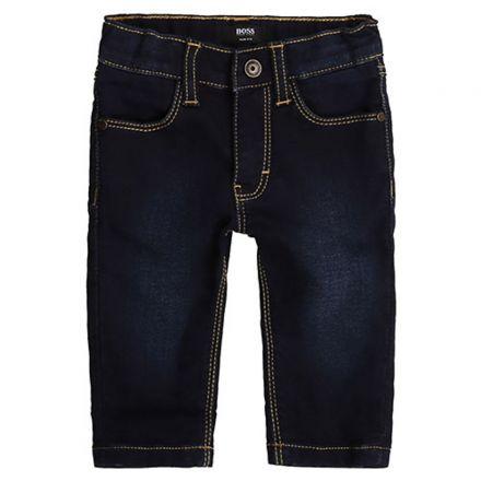 מכנס BOSS לתינוקות ג'ינס כהה מלוכלך