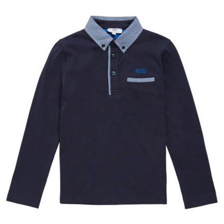 חולצת BOSS לילדים צווארון משובצת
