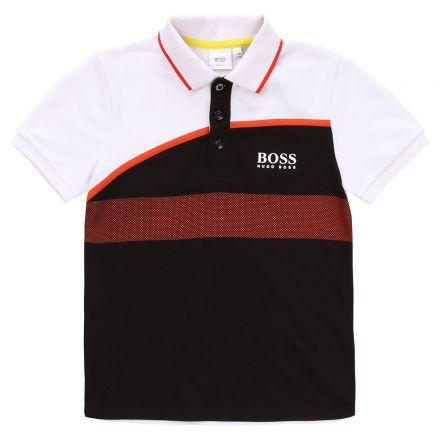 חולצת BOSS לתינוקות צווארון שחור לבן