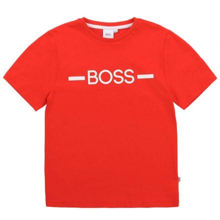 חולצת BOSS לילדים לוגו באמצע