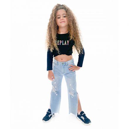 ג'ינס ORO לילדות בהיר קרעים