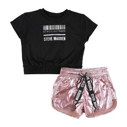 חליפת טריקו קצרה עם מכנס נילון  STEVE MADDEN לילדות